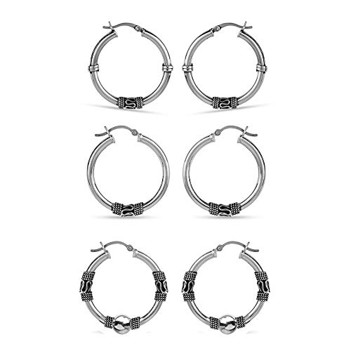 (LeCalla Sterling Silver Set of 3 Pair 30mm Light Weight Click Top Bali Hoop Earrings for Women)