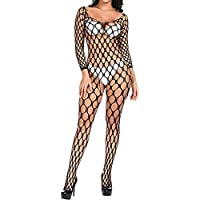 Worldtree Bodystocking Women's Mesh Lingerie Fishnet Bodysuit Boy Stockings Ladies Black Babydoll Free Sexy Dress