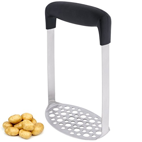 (Stainless Steel Potato Masher with Wide and Ergonomic Horizontal Handle for Smooth Mashed Potatoes,Vegetables and Fruits)
