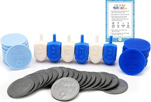 (Hanukkah Dreidel Game - Game of Draydel for Chanukah - Includes 6 Blue and White Dreidels - 25 Play Coins - Dreidel Game Instructions)
