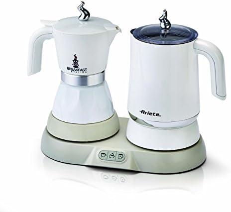 Ariete 1344 Breakfast Station – 3 prodotti in 1: Moka-Bollitore-Montalatte a caldo e freddo, 500W, 4/2 tazze, Mantenimento caffè in caldo, 5 funzioni, Bianco