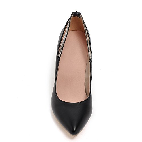 BalaMasa Womens Slip-On Kitten-Heels Solid Soft Material Pumps-Shoes Black 0OlRA