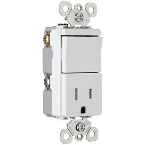 Pass & Seymour TM818TRWCC6 Decorator Combo Single Pole Switch and Single Receptacle, 15-Amp, 120/125-volt, White