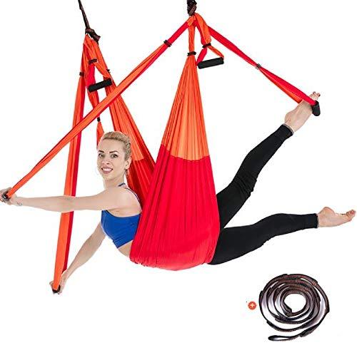 ZMJY Yoga Hammock Set, Indoor Ceiling Set Anti-Gravity Yoga Swing 6 Handle Hammock/Inverted Tool,Orange
