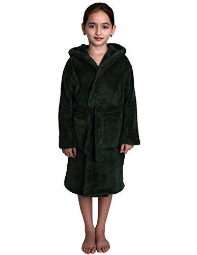 TowelSelections Big Girls' Robe, Kids Plush Hooded Fleece Bathrobe Size 8 Hunter Green