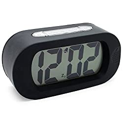 JCC Easy Setting Easy Read Silicone Protective Cover LCD Large Screen Big Bold Numbers Quiet Silent Bedside Desk Digital Alarm Clock with Snooze, Night Light Function, Battery Powered (Black)