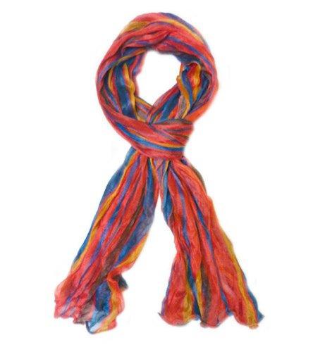 (TdZ Fashion Scarf 64-inch Crinkle Stripes (Red/Blue))