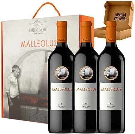Estuche Malleolus - Estuche de Vino Regalo - 3 Botellas - Ribera del Duero - Bodegas Emilio Moro - Seleccionado y enviado en caja regalo reforzada de Cosecha Privada