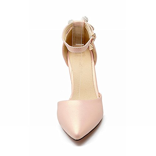MissSaSa Damen high heel ankle-strap Schleife Pointed Toe Pumps Pink