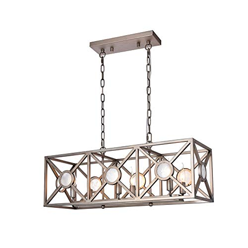 Retro Rectangular Chandeliers Pendant Island Lighting, A1A9 Antique Nickel Paint Chandelier 6 Light Ceiling Light for Kitchen, Living Room, Pool Table Light, Size: L:30.94