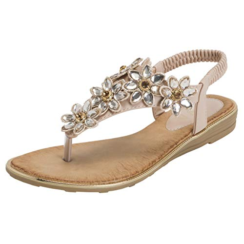 Womens Sandals Holiday (VIVASHOES Womens Summer Beach Strappy Floral Holiday Wedge Sandals - Nude - US6/EU37 - KL0421)