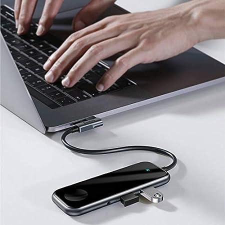 Mhjmijb USB C Hub,6-in-1 Type C Hub,2 USB 3.0 Ports,with HDMI Port,3.5MM Headphones Port,iwatch Wireless Charging
