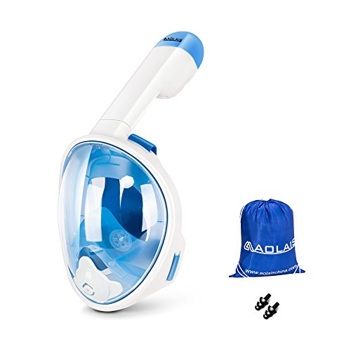 AOLAIS Third Generation 180 Degree view Panoramic full face Snorkel Mask for Adults and Kids,Anti-fog Anti-leak Design Easy Breathe Snorkeling Mask Set (Blue for kids, XS)