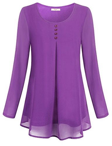 Cestyle-Womens-Roll-up-Long-Sleeve-Round-Neck-Layered-Chiffon-Flowy-Blouse-Top