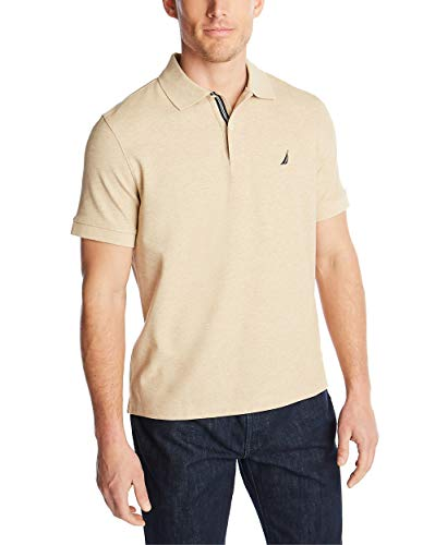 Nautica Men's Classic Short Sleeve Solid Polo Shirt, Coastal Camel Heather Medium