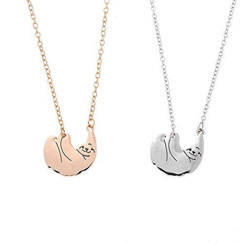 Gbell Clearance! Girls Women Retro Sloth Art Hip-hop Charm Pendant Necklace Jewelry Trend Fashion for Party,Casual (Silver)