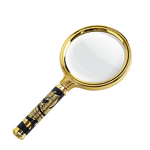Classroom Favorites Collection - 10X Handheld Magnifier, Reading Magnifier Loupe Glasses with Antique Mahogany Magnifying Glass for Reading Book, Inspection, Coins, Insects, Rocks, Map, Classroom Science (Gold, 80MM)