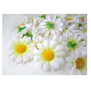 """ICRAFY 24 Daisy Silk Head White Color, Size 1.5"""" Artificial Flowers Heads Fabric Floral Supplies Wholesale Lot for Wedding Flowers Accessories Make Bridal Hair Clips Headbands Dress 107"""