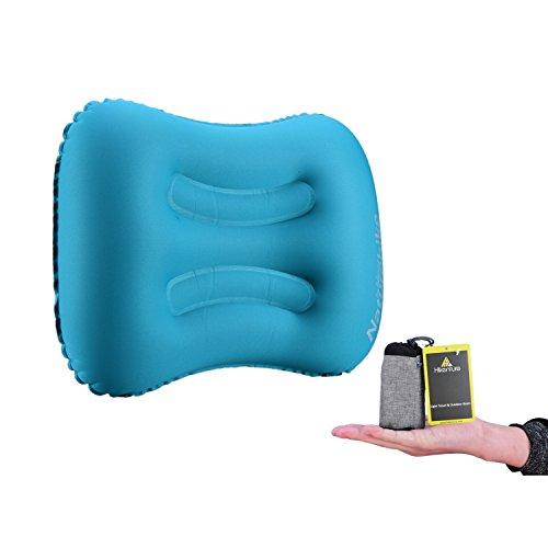 Camping Kissen von Hikenture™ - Leichtes Reisekissen - Aufblasbares Kopfkissen – Nackenkissen - Camping Pillow für Camping, Reise, Outdoor (Blau Grün Orange)