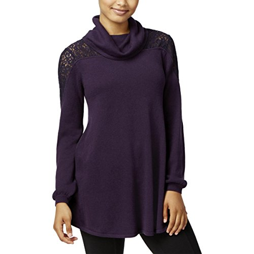 Style & Co. Womens Lace Inset Cowl Neck Pullover Sweater Purple (Inset Cowl Neck)