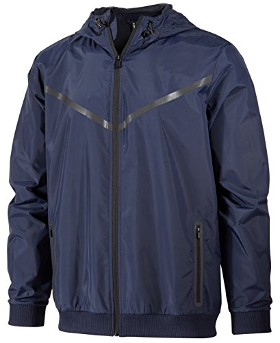 Ideology ID Men's Water-Resistant Hooded Jacket (Large, Navy Blue)
