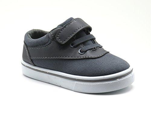 EASY21 Infant Toddler Boat Shoes Loafer Kids Shoes Slip-On JR-32F,Grey,Size 7