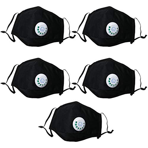 Marygel 5 Pcs Reusable PM2.5 Flu Masks Activated Carbon Dust Masks with Exhalation Valve for Allergies, Pollution,Viruses, Mold