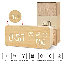 BlaCOG Digital Alarm Clock with Wooden Desk LED Time, Week, Date/Month/Year and Temperature Display, Battery/USB Powered, 3 Alarm Settings, Adjustable Brightness Bamboo/White