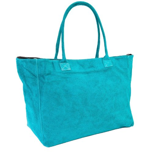 DELARA Capiente borsa shopper inpelle scamosciata, Made in Italy. Colore: turchese sgargiante
