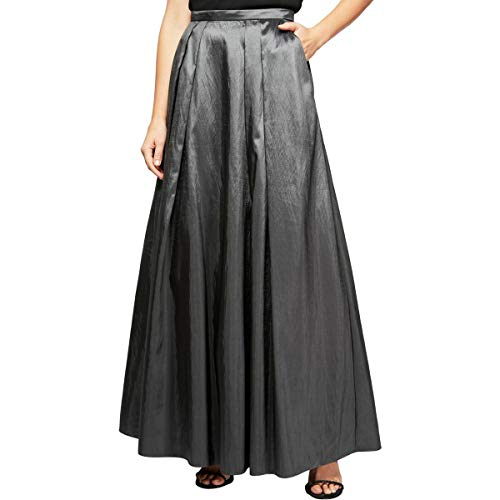 Alex Evenings Women's Long Skirt Various Styles (Petite and Regular Sizes), Gunmetal Taffeta, S (Petite Taffeta Skirt)
