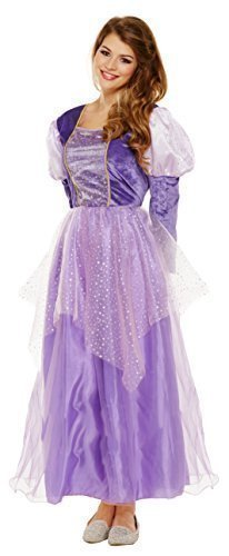 Mujer Rapunzel Lila Princesa Medieval Cuento De Hadas Disfraz 8-12