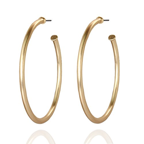 Pomina Tubular Open Round Classic Hoop Earrings (Gold)