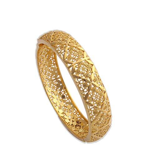loyoe jewelry 18K Yellow Gold Plated Filigree Wedding Bangle Bracelet for Women -