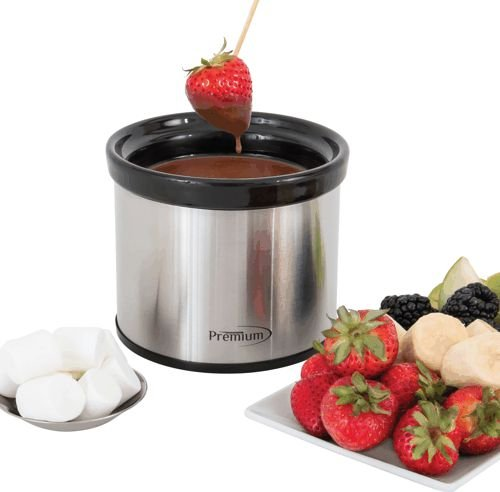 Premium PSC060 Fondue Pot Chocolate Fountain Maker, Melts Cheese Warm and Reheat Dips and Sauces, Stainless Steel with Inner Cera, 2, BLK