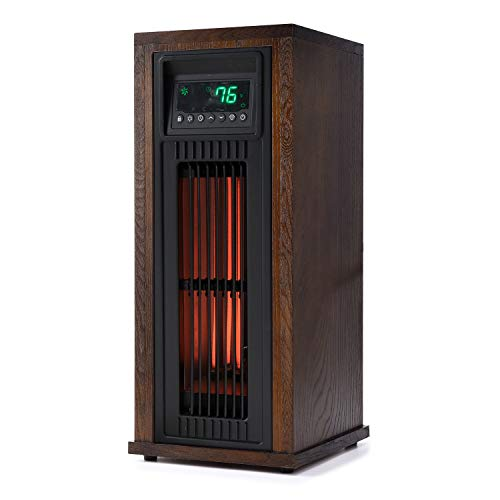 Lifesmart HT1216 23 Inch High 1500 Watt Electric Large Room Infrared Tower Space Heater with Thermostat, Eco-Friendly Mode, and Remote Control Lifesmart