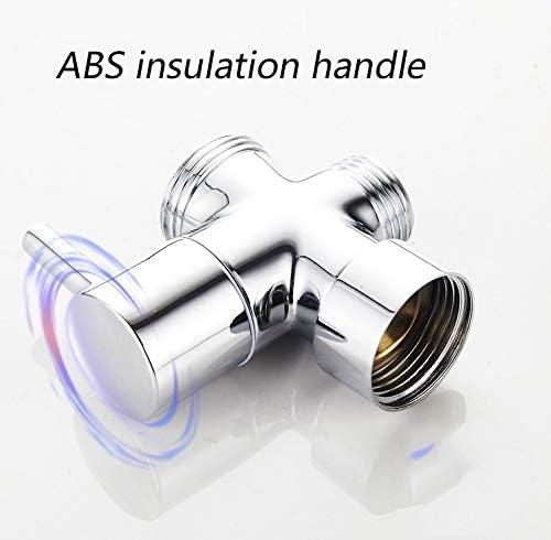 ハンドシャワー用シャワーアームダイバーターバルブ、G 1/2 3ウェイシャワーヘッドダイバーターバルブ、セラミックスプール、メッキプロセス、ABS絶縁ハンドル