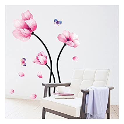 Wall decal pink flower wall mural peel and stick removable vinyl wall decal pink flower wall mural peel and stick removable vinyl wall sticker home mightylinksfo