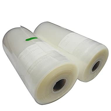 """Vacuum Sealer Bags Roll 8""""x50', Pack Of 2. Super Heavy Duty, 12mil Thick, 3x Stronger Than Competitors! Works On Any Clamp Style Vacuum Machine. Good for Sous Vide Cooking, Vacuum Sealing, Freezing, Boiling & More"""