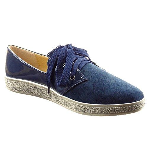 Sopily - damen Mode Schuhe Derby-Schuh glänzende Patent - Blau