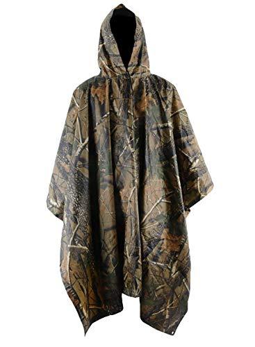 T WILKER 3in1 Rain Poncho Waterproof Camouflage Ripstop Rain Jacket Batwing-Sleeved Rain Coat with ()
