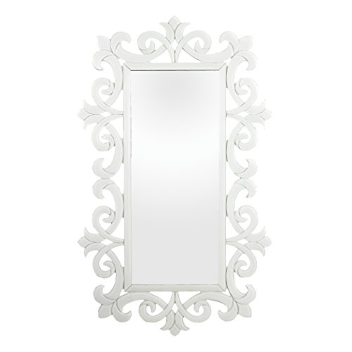 Sterling Glass Scroll Work Framed Mirror, White
