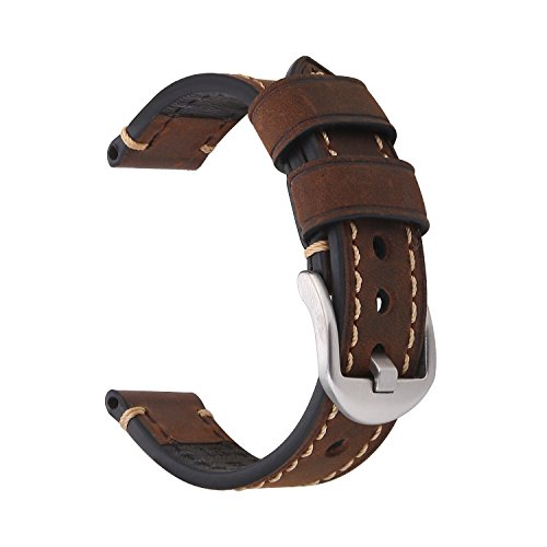 EACHE 18mm Crazy Horse Genuine Leather Handmade Watchband(Dark Brown-Silver Small Buckle)