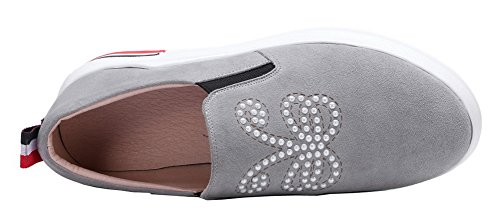 VogueZone009 Women's Round-Toe Kitten-Heels Imitated Suede Pull-On Pumps-Shoes Gray T2Gpt3s