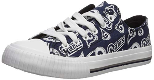 FOCO NFL Womens Low Top Repeat Print Canvas Shoe: La Rams, Large