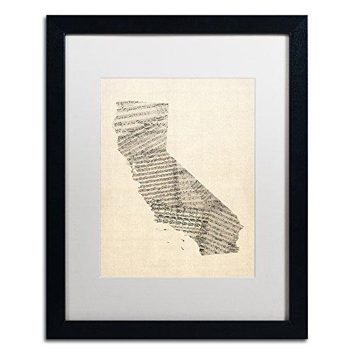Old Sheet Music Map of California by Michael Tompsett, White Matte, Black Frame 16x20-Inch (Music Sheet Frame)