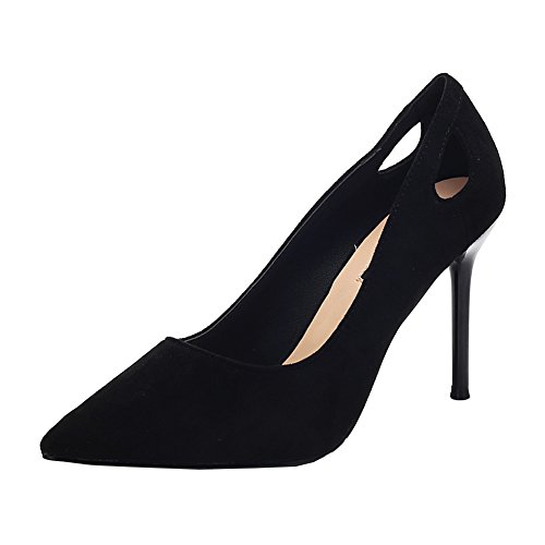 Women's Stylish Fashion Sexy Hollow Out Stiletto Heels Suede Pointed-Toe Slip-On Pump Shoes For Night Club Office Black f4PnGmaas