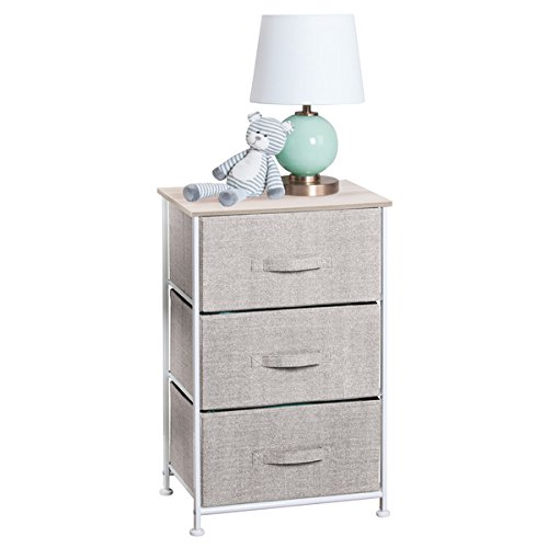 mDesign Fabric Baby 3-Drawer Dresser and Storage Organizer Unit for Nursery, Bedroom, Play Room - Linen