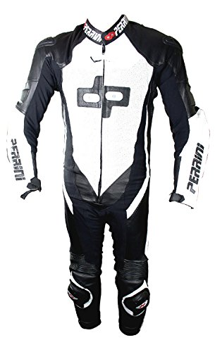 1 Pc Perrini White and Black Genuine Cow Leather Motorbike Riding Motorcycle Racing Suit by PERRINI (Image #4)