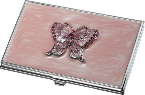 Visol Products Charlotte Pink Butterfly with Pink Crystal...