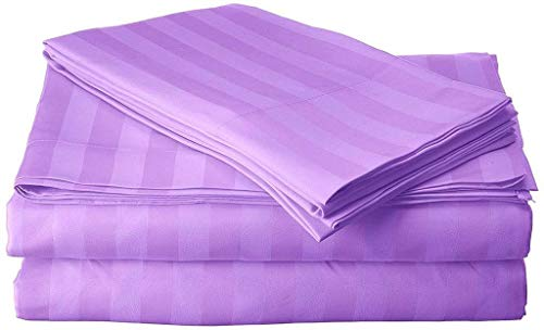 """800 Thread Count 100% Cotton Sheets Set Full XL Lilac Stripe, 100% Long Staple Cotton Lilac Stripe Full XL Sheets, Luxurious Sateen Weave Cotton Bed Sheets Deep Pocket fit Up to 15"""""""